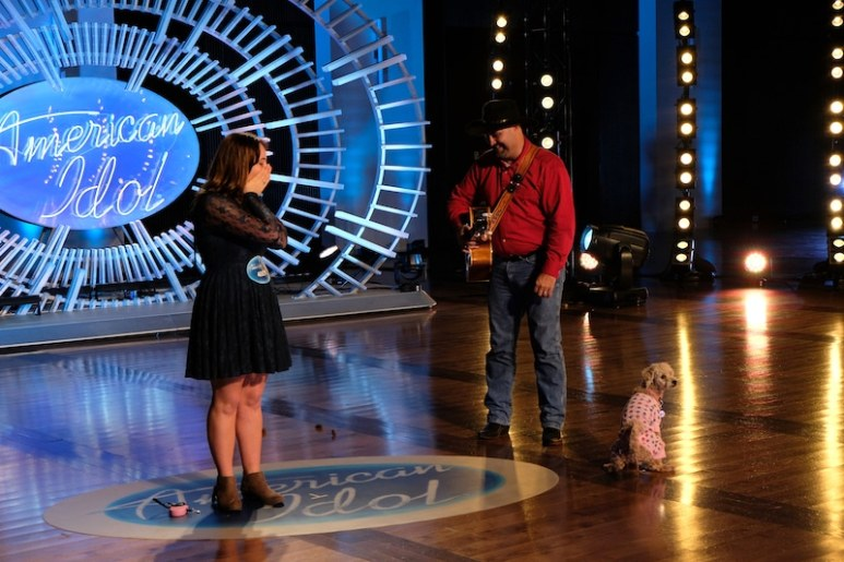 Carie Ferra and her dog going to the toilet on American Idol
