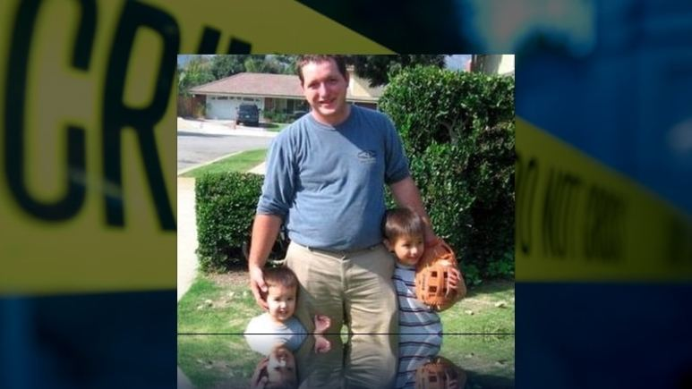 Neal Williams pictured with his two sons in garden, they were all murdered by Manling