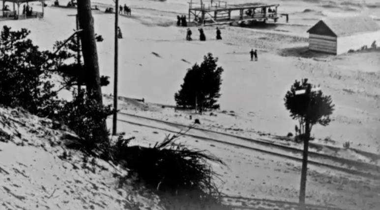 Old railway photograph on Lake Michigan shore