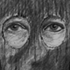 A sketch of the Golden State Killer's eyes as seen through the holes of a mask