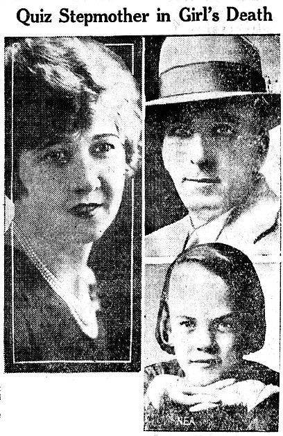Pearl O'Loughlin, her stepdaughter Leona and t her police detective husband Leo O'Loughlin in this lback and white montage