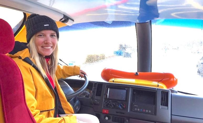 Jena Dalykas behind the wheel of the Wienermobile