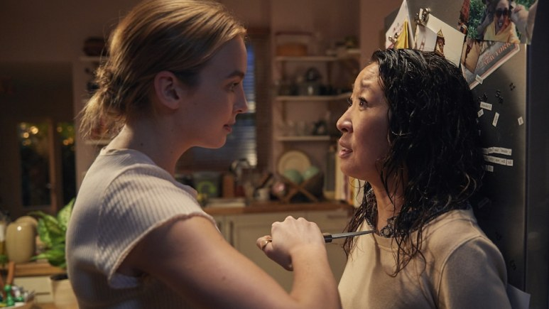 Comer as icy killer Villanelle and Oh's Eve were electric in their cat and mouse dance. Pic credit: BBC America