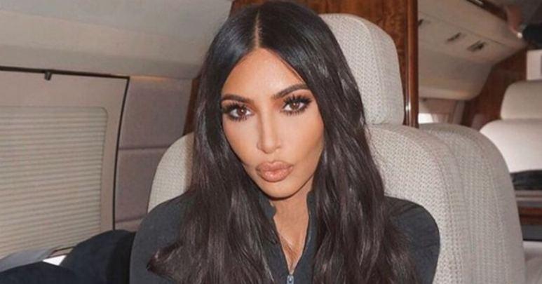 Kim Kardashian aboard a private jet