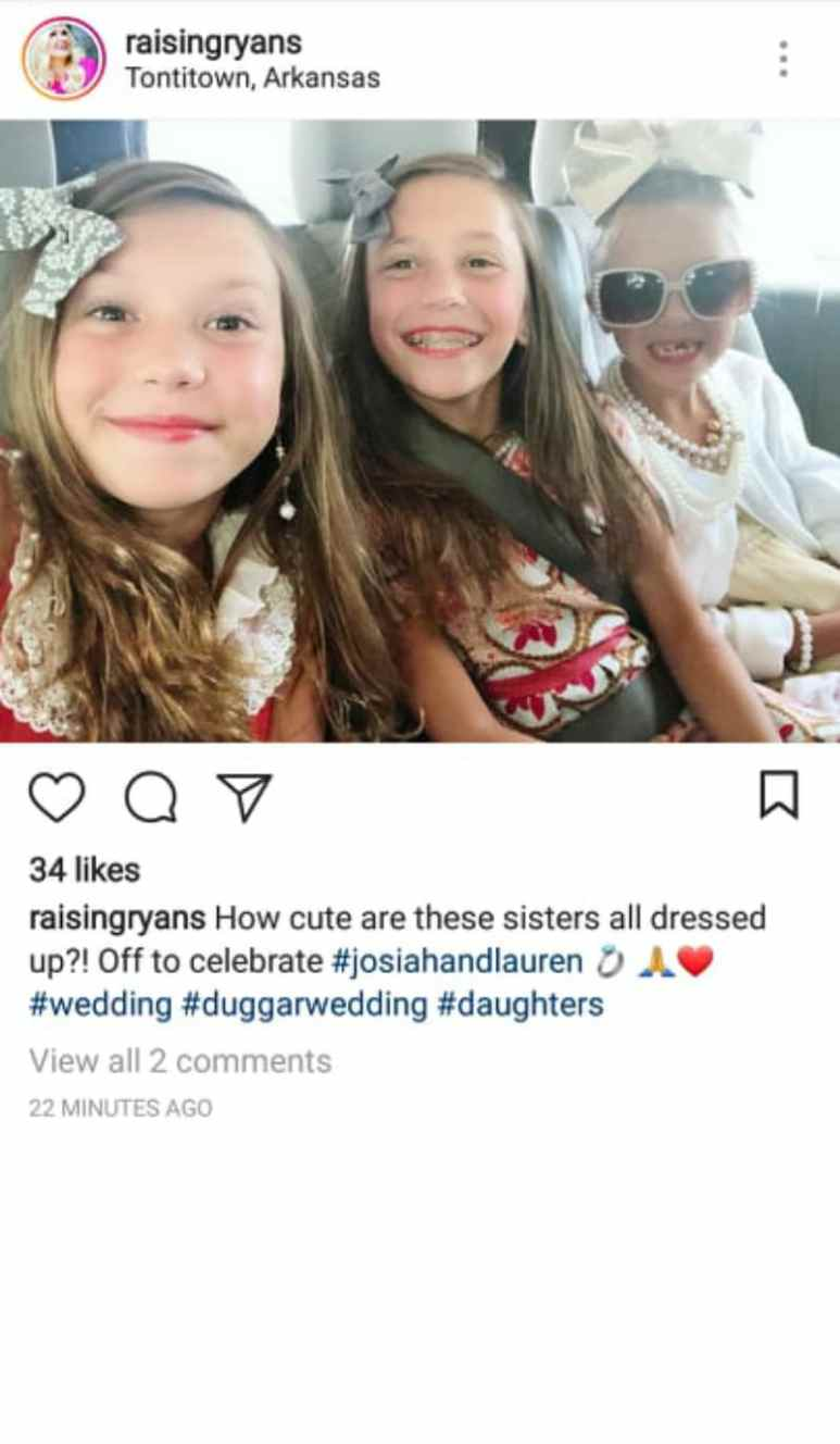 Ryan daughters on the way to Josiah Duggar's wedding