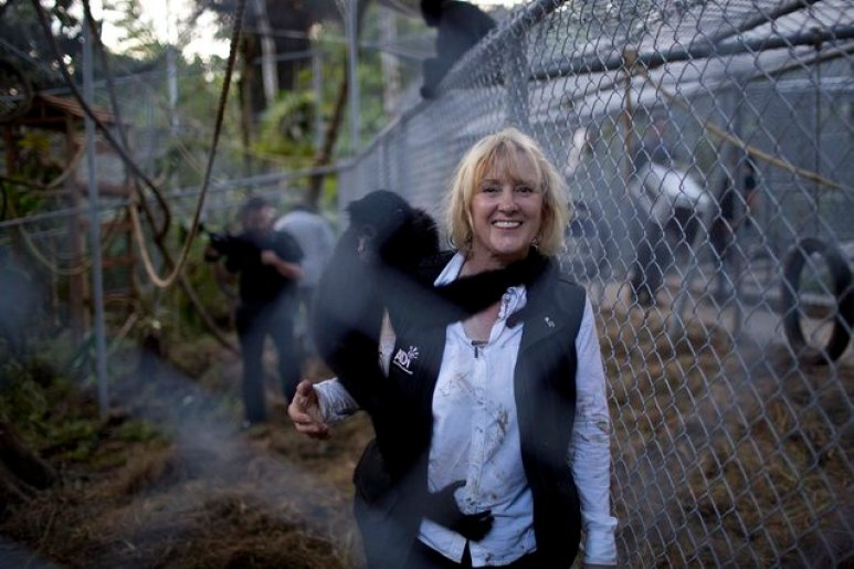 Jan Creamer of Dodo Heroes with Pepe the spider monkey