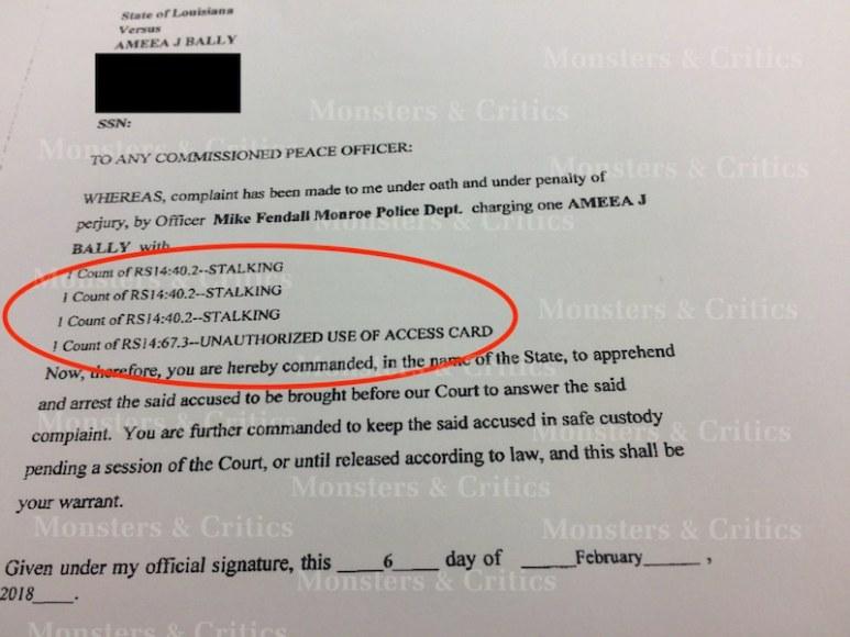 Mia Bally's arrest warrant
