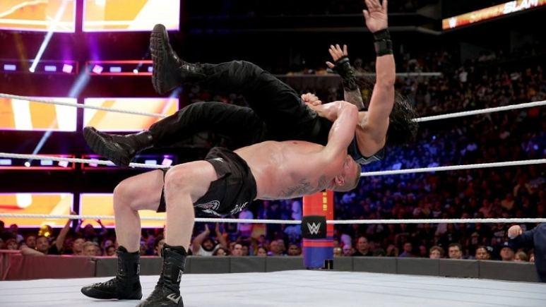 Brock suplexes Roman.