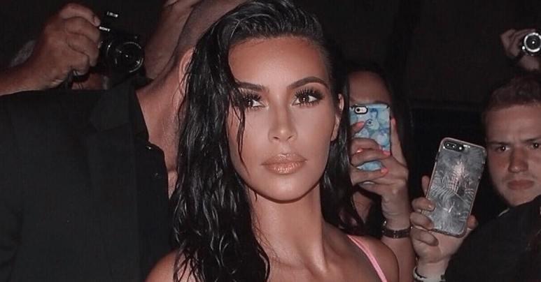 Kim Kardashian wearing a pink dress