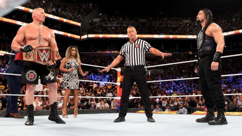 Brock Lesnar and Roman Reigns at SummerSlam 2018