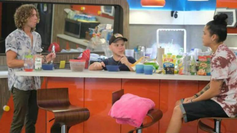 Tyler, JC, and Kaycee in the Big Brother kitchen