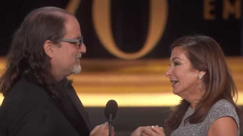 Glenn Weiss proposes at the Emmys