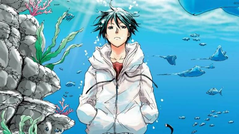Underwater scene from the Grand Blue anime