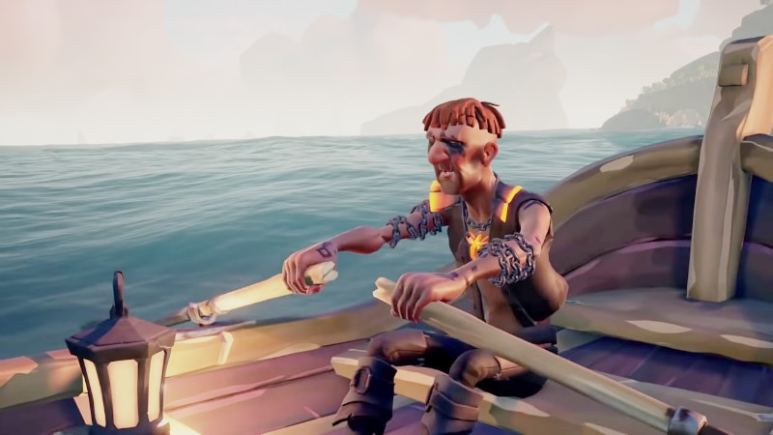 A lone pirate rows toward Devil's Roar where the Foresaken Shores update will make huge changes