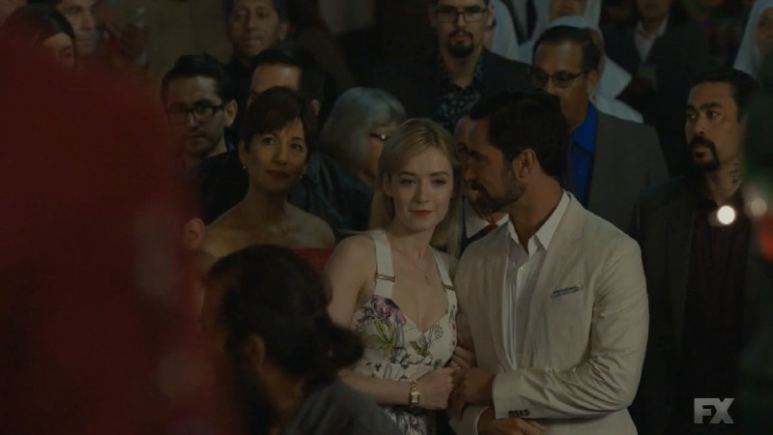 Still Image from Mayans M.C. Murciélago/Zotz. At the fiesta, things do not go according to plan as Emily is trampled by the panicked crowd. Pic credit: FX