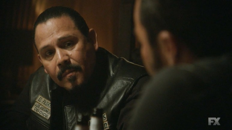 Still image:Mayans M.C. Búho/Muwan. Alvarez (Emilio Rivera) is persistent on discovering the source of the intel leak within the club. Pic credit: FX