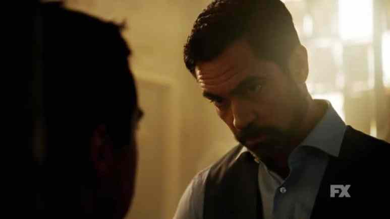 Still image from Mayans M.C. Búho/Muwan preview. Miguel prepares to torture another poor soul for information. Pic credit: FX