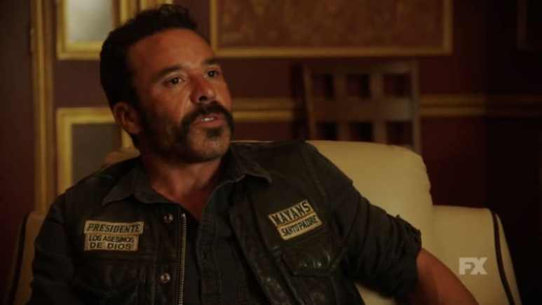 Still image from Mayans M.C. Búho/Muwan preview. President Bishop discusses the cost of doing business with the cartel. Pic credit: FX