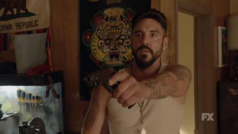 Still Image: Mayans M.C. Season 1 Ep. 5 Uch/Opossum Preview. Angel Reyes is surprised by Cole in his home after contacting him to sell the heroin. Pic Credit: FX