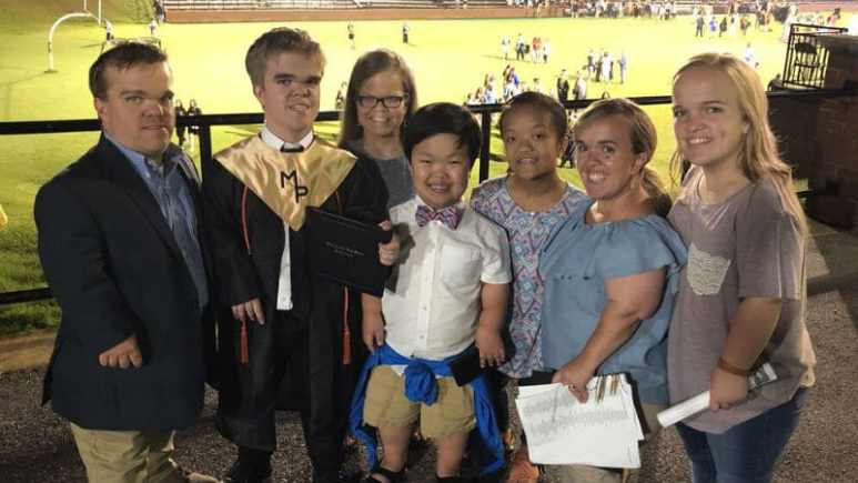 The Johnston family celebrating Jonah's graduation