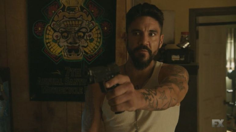 Still Image Mayans M.C. Uch/Opossum. Cole uses his military skills to find Angel Reyes' home where they arrange the deal for Adelita's heroin. Pic Credit: FX