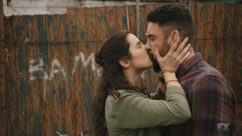 Still Image Mayans M.C. Uch/Opossum. Adelita kisses Angel before warning him not to get in trouble again. Pic Credit: FX