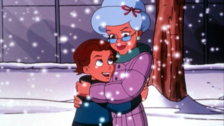 A grandma hugs her grandson