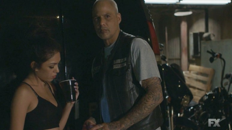 Still Image from Mayans M.C. Cuervo/Tz'ikb'uul. SAMCRO member Happy Lowman is revealed to be the killer of EZ and Angel Reyes' mother. Pic Credit: FX