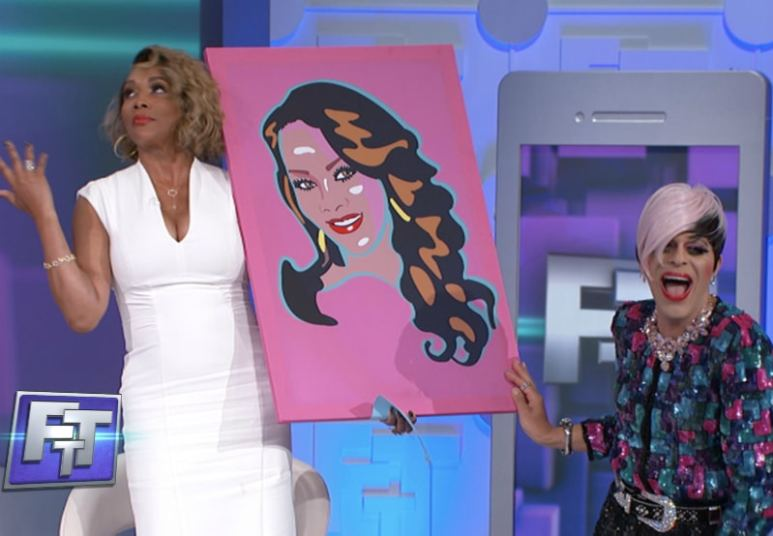 Sham Ibrahim presented Vivica Fox with a portrait. Pic credit: Face The Truth/Stage 29 Productions