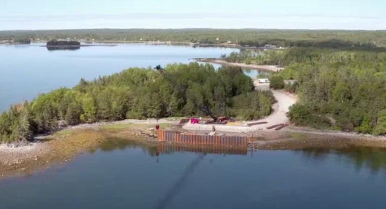 Aerial view of the cofferdam in Smith's Cove