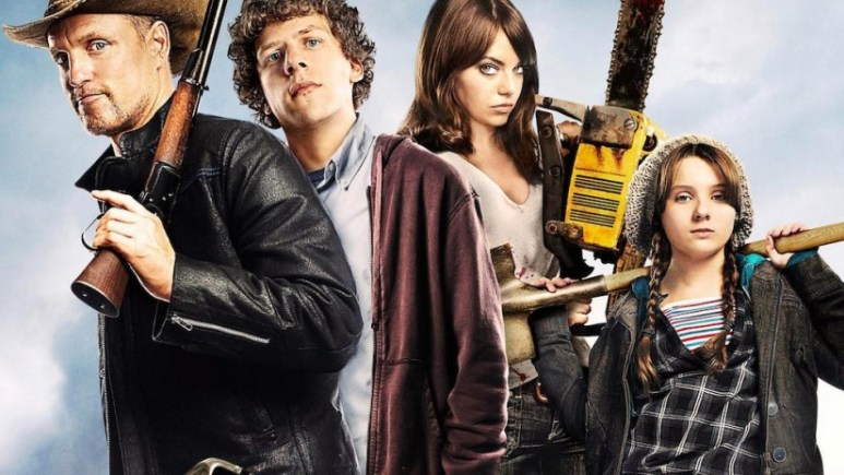 Zombieland characters stand with various weapons. Tallahassee, Columbus, Wichita and Little Rock.