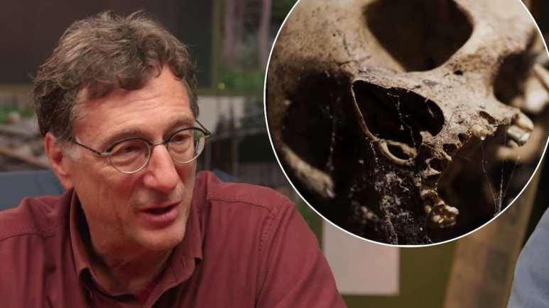 Marty Lagina and skull on The Curse of Oak Island