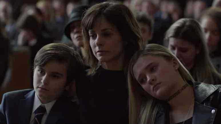 Delilah and her children at Jon's funeral