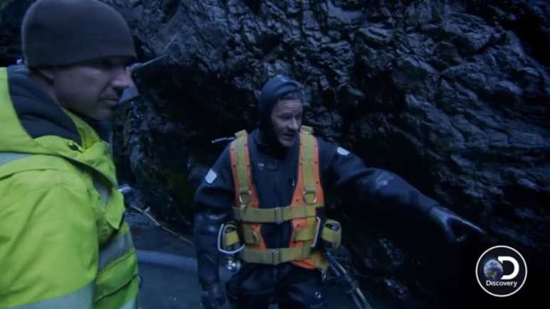 Paul points out where the plunge pools are right before the crew yells they found gold. Pic credit: Discovery