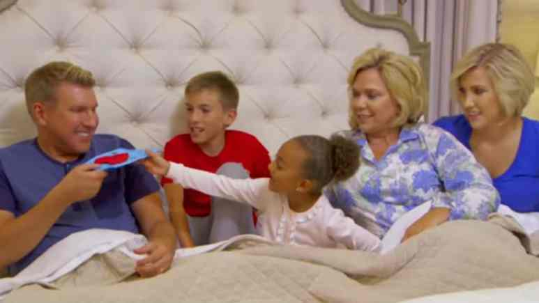 The Chrisley family all piled into Todd and Julie's room