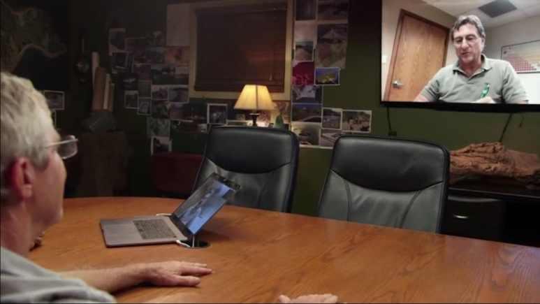 Craig Tester talks to Marty Lagina via video
