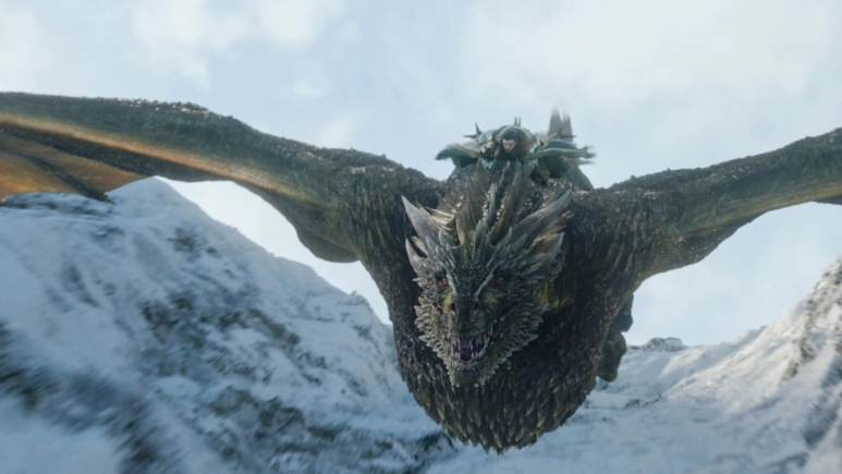 Jon Snow riding the dragon Rhaegal on Game of Thrones