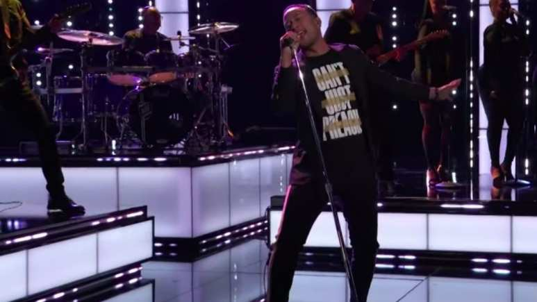 John Legend performing Preach on The Voice