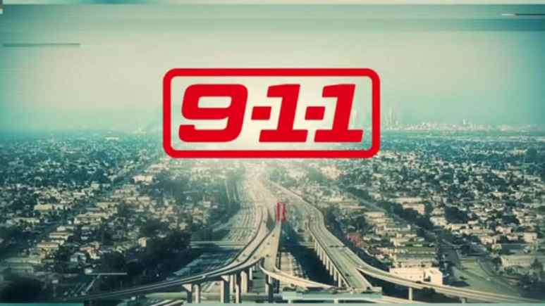 9-1-1 opening scene with the logo and backdrop of Los Angeles.