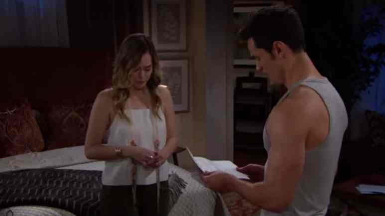 Annika Noelle and Matthew Atkinson as Hope and Thomas on The Bold and the Beautiful.
