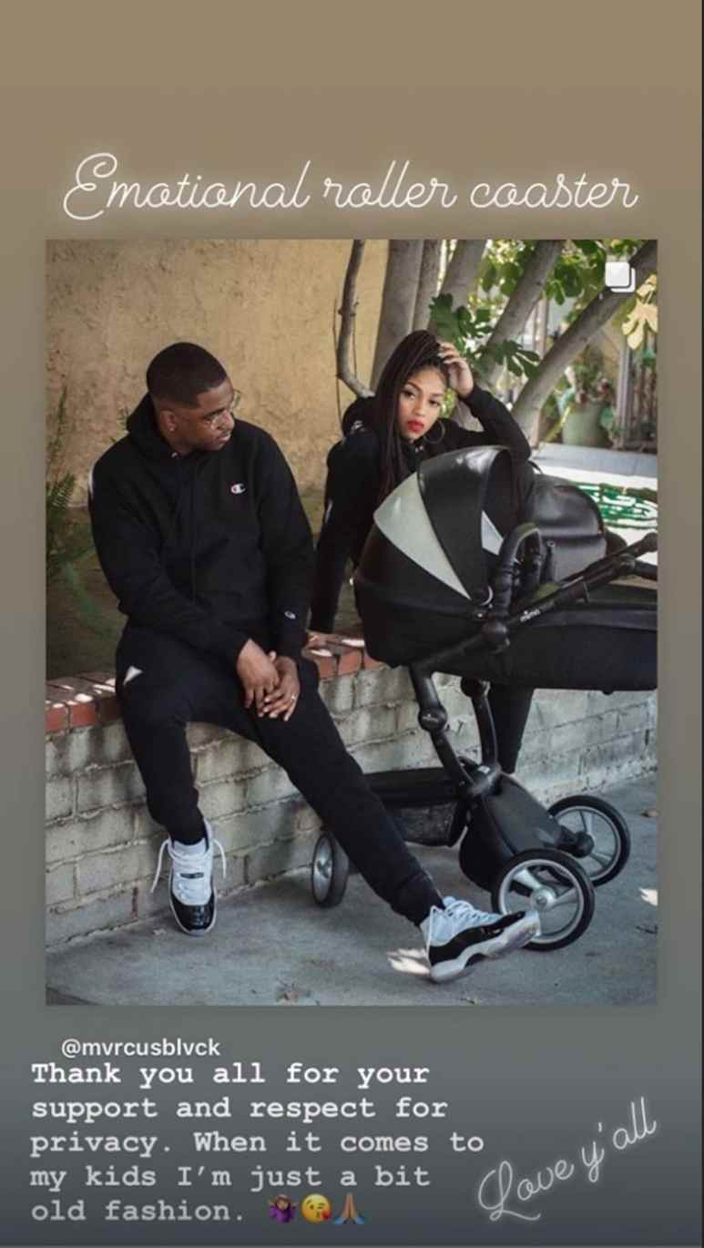 The Instagram Story posted by Brooke Valentine confirming she had a baby