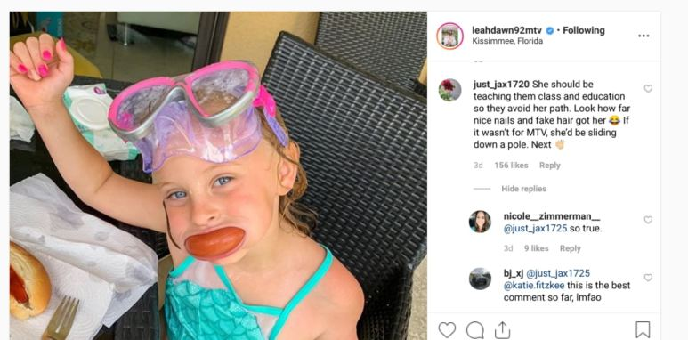 Leah Messer responds to a troll on Instagram