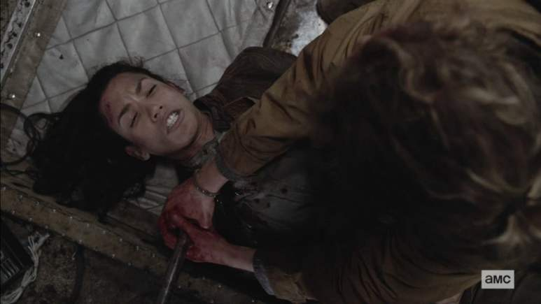 Luciana suffers a shoulder injury when a pipe impales her shoulder on Fear the Walking Dead