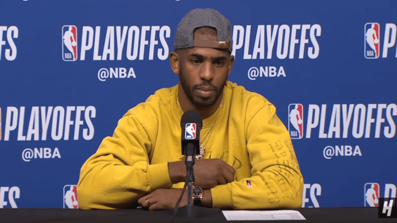 Chris Paul gives an interview during the 2019 NBA Playoffs