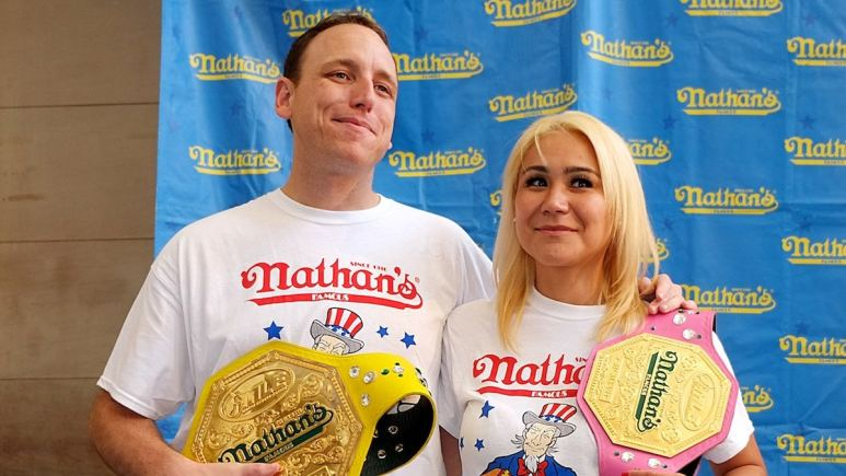 Joey Chestnut and Miki Sudo, who will win big in prize money if they win the Nathan's Famous Hot Dog Eating Contest 2019