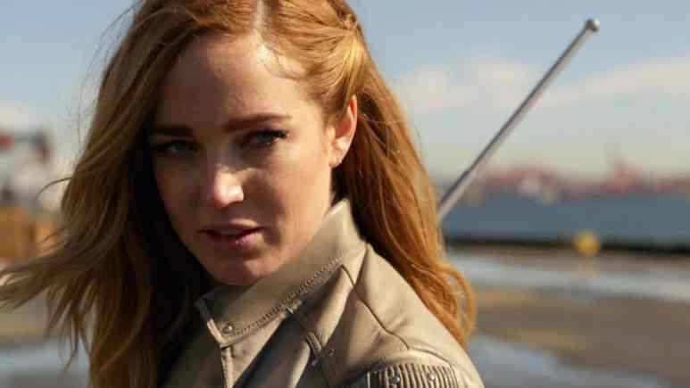 Caity Lotz as Sara Lance on Legends of Tomorrow.