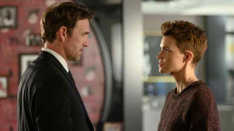 Dougray Scott as Jacob Kane and Ruby Rose as Kate Kane in Batwoman