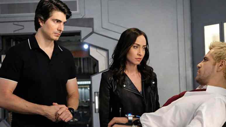 Brandon Routh as Ray Palmer, Courtney Ford as Nora Darhk, and Matt Ryan as John Constantine on Legends of Tomorrow