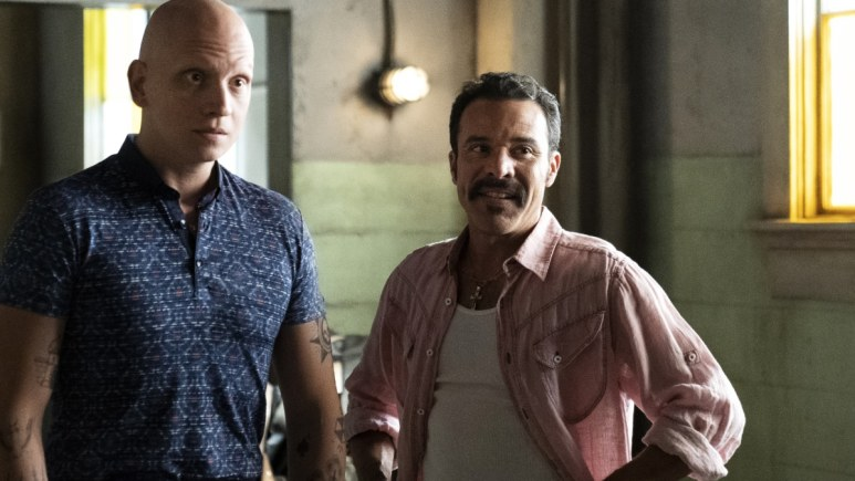 Irby (R) here as Cristobal, the unlikely ally of Noho Hank (Anthony Carrigan). Pic credit: HBO
