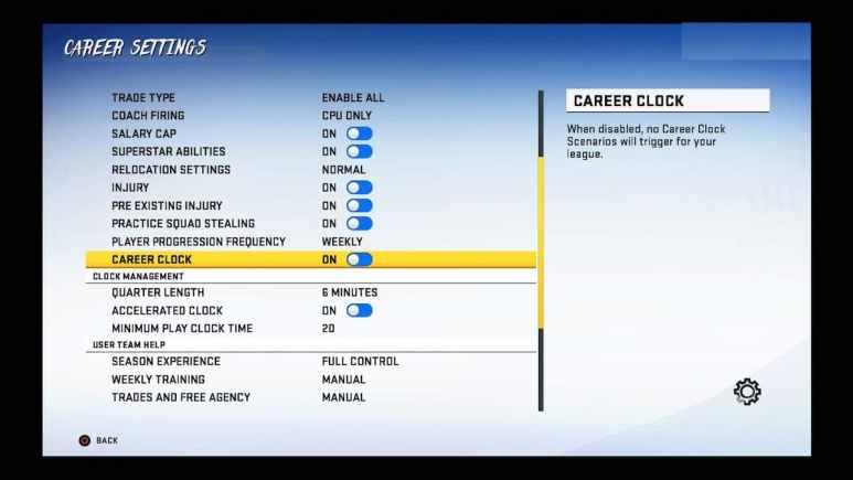 madden 20 screenshot for career clock settings